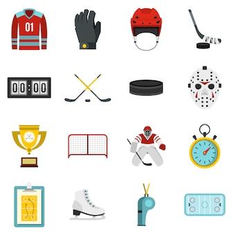 Hockey ingesteld plat pictogrammen