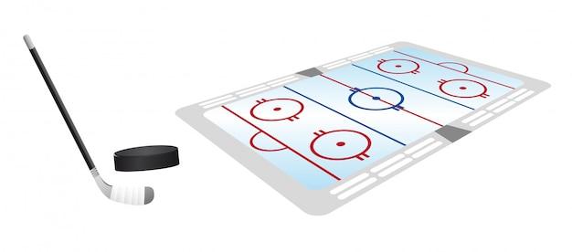 Hockey pitch perspectief met hockey puck en stick vector