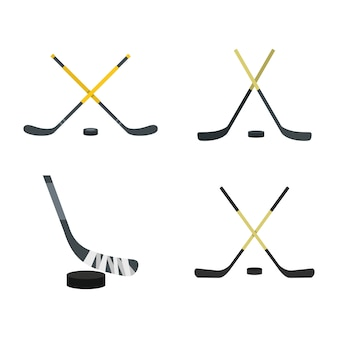 Hockey stick pictogramserie. platte set van hockeystick vector iconen collectie geïsoleerd