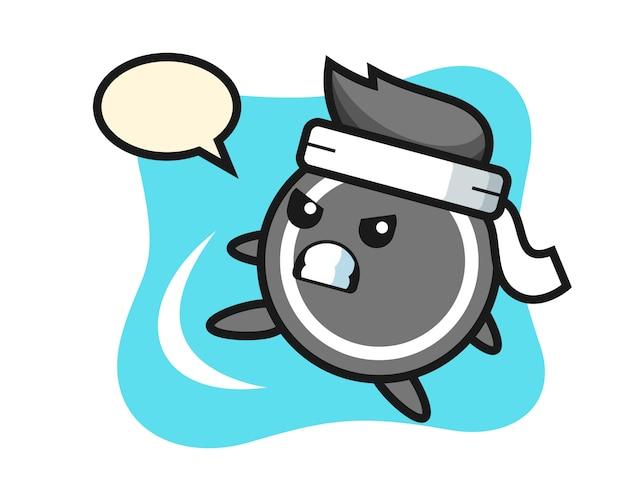 Hockeypuck cartoon doet een karate kick