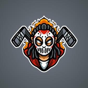 Hockeyspeler e sport mascotte-logo