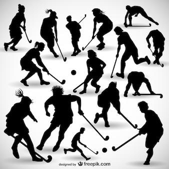 Hockeyspeler silhouetten pakken