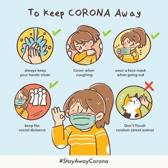 Hoe corona weg te houden wanneer u naar buiten gaat covid-19 virus safety campaign doodle illustration