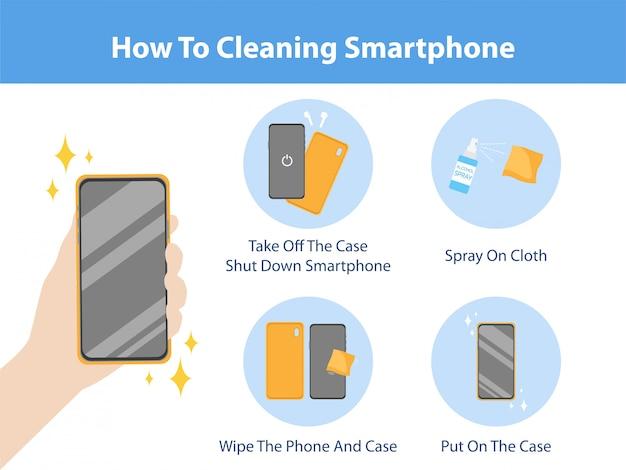 Hoe de smartphone te reinigen door het spray-virus voor alcohol te spuiten om corona-virus te voorkomen