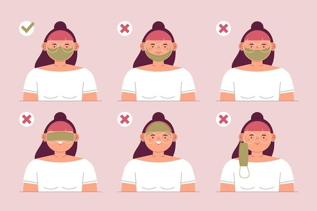 Hoe een gezichtsmasker goed en fout te dragen