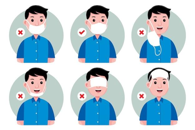 Hoe een gezichtsmasker te dragen (goed en fout) voor de mens