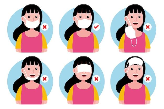 Hoe een gezichtsmasker te dragen (goed en fout) voor vrouwen
