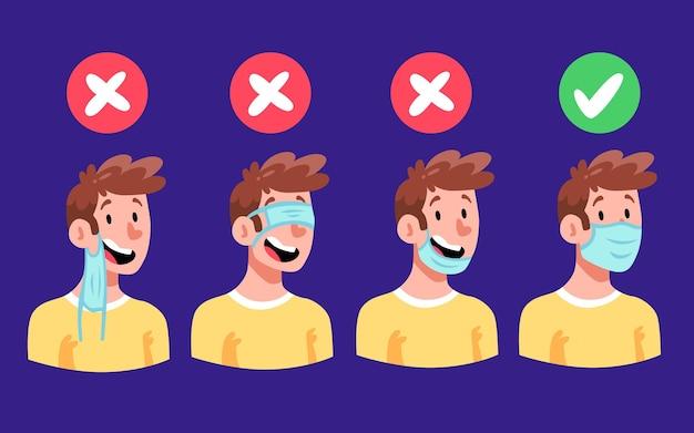 Hoe een gezichtsmasker te dragen (goed en fout) Premium Vector