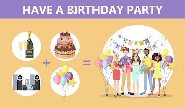 Hoe een verjaardagsfeestje te organiseren. gelukkige mensen op feest met geschenkdoos. taart en alcohol, muziek en decoratie. jubileumfeest. illustratie