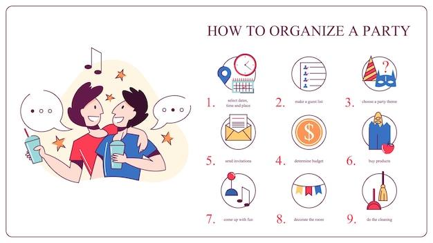 Hoe een verjaardagsfeestje te organiseren. kies eten, muziek en decoratie. jubileumfeest. illustratie