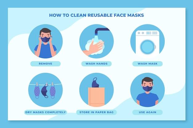 Hoe herbruikbare gezichtsmaskers infographic schoon te maken