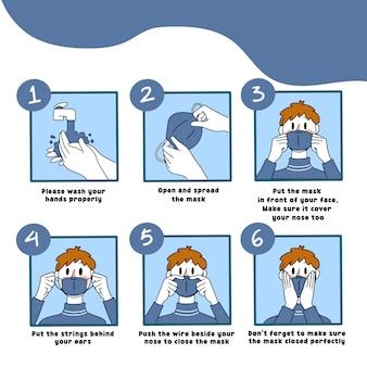 Hoe het masker correct te gebruiken gids illustratie mannelijke versie