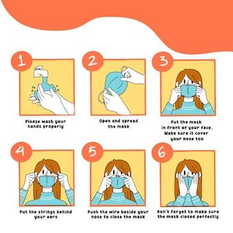 Hoe het masker correct te gebruiken gids illustratie vrouwelijke versie