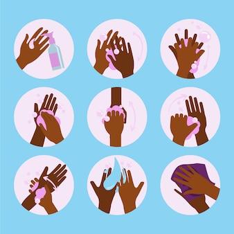 Hoe je je handen moet wassen geïllustreerd