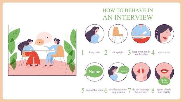 Hoe je je moet gedragen tijdens een sollicitatiegesprek. persoon bereidt zich voor op de ontmoeting met de hr-manager. illustratie