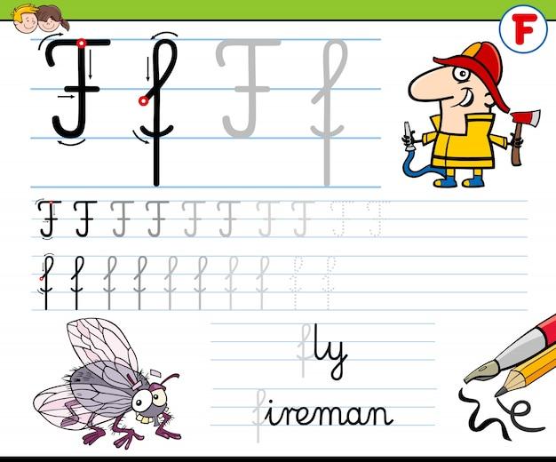 Hoe je letter f-werkblad voor kinderen schrijft
