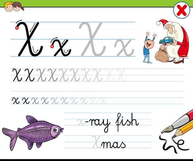 Hoe je letter x-werkblad voor kinderen schrijft