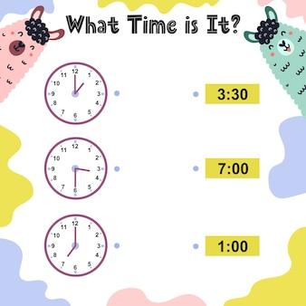 Hoe laat is het werkblad voor kinderen. tijdoefening vertellen. educatieve activiteitssjabloon. Premium Vector