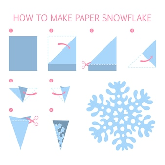Hoe maak je een kerstblauwe sneeuwvlok van verschillende vorm diy. stap-voor-stap instructie voor papieren origami-speelgoed. tutorial voor kinderen. geïsoleerde platte vectorillustratie