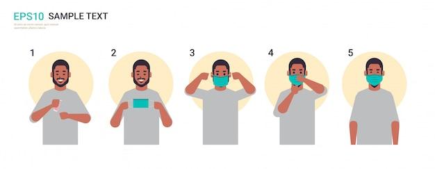 Hoe medisch gezichtsmasker te dragen covid-19 bescherming stap voor stap correcte methode voor het dragen van een masker