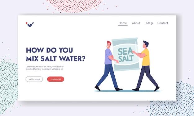 Hoe meng je de sjabloon voor de bestemmingspagina van zout water. kleine mannelijke personages met zak met zeezout voor aquarium. mannen kopen artikelen voor de verzorging van zeedieren, aquaristiekhobby. cartoon vectorillustratie