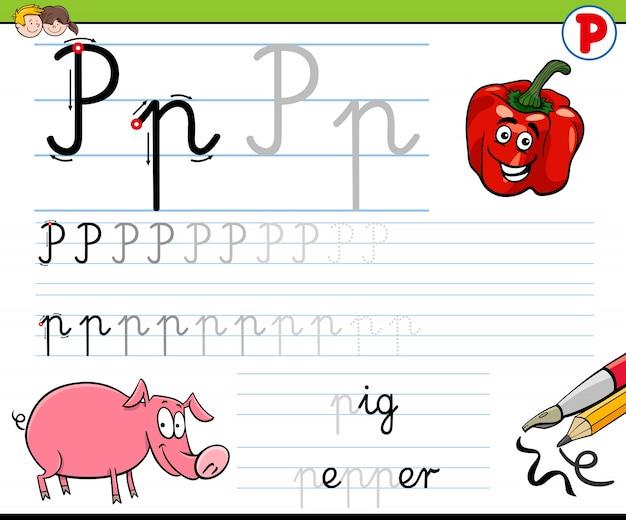 Hoe schrijf je een letter p-werkblad voor kinderen