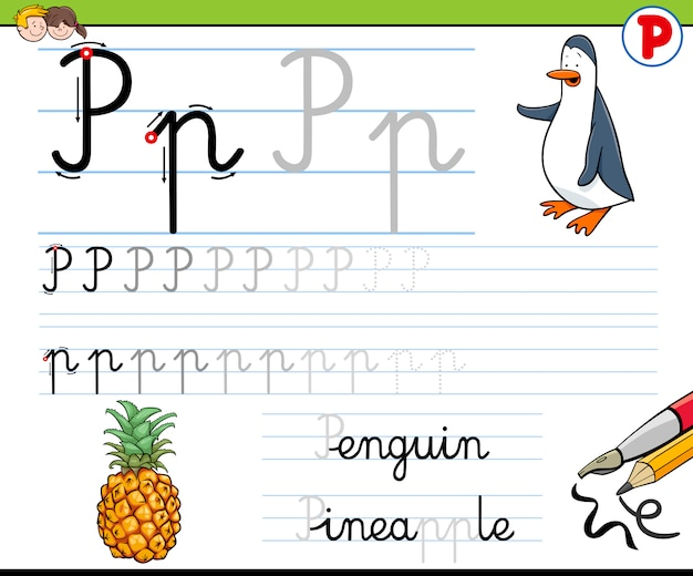 Hoe schrijf je letter p