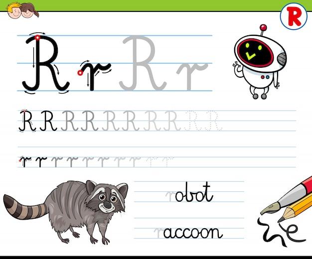 Hoe schrijf je letter r-werkblad voor kinderen