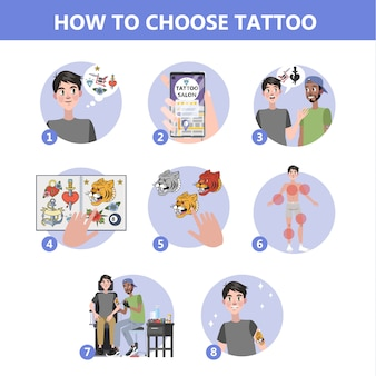 Hoe tattoo-instructie te kiezen. moeilijke keuze maken. budget plannen en zoeken naar artiest. overleg in studio met specialist, vinden creatieve schets. illustratie