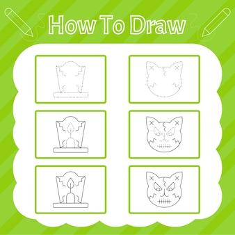 Hoe te tekenen. halloween-tekenitems oefenen