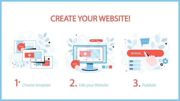 Hoe u een website-instructie maakt. webbanner concept
