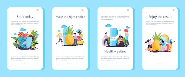 Hoe u fit en gezond kunt worden met tips voor mobiele applicatiebanners. start vandaag. vers voedsel en dieet als dagelijkse routine. fitness sportoefening. illustratie