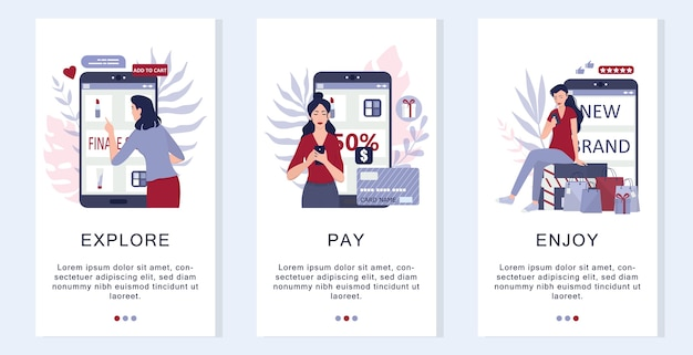Hoe u goederen online kunt kopen. infographics voor online winkelen. banner voor e-commerce mobiele applicatie. advertentie voor mobiele marketingapp en banner voor sociale media. illustratie
