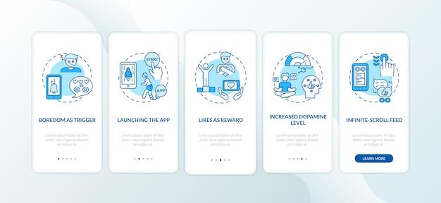 Hoe verslaving aan sociale media werkt op het scherm van de mobiele app-pagina met concepten