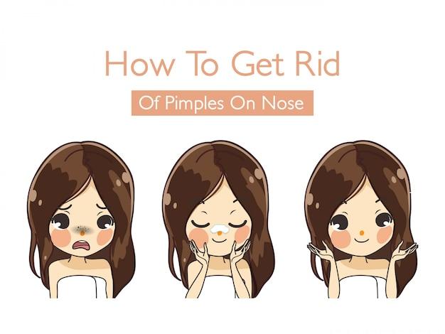 Hoe zich te ontdoen van mee-eter op de neus van het meisje om de huid er mooier en jonger uit te laten zien.