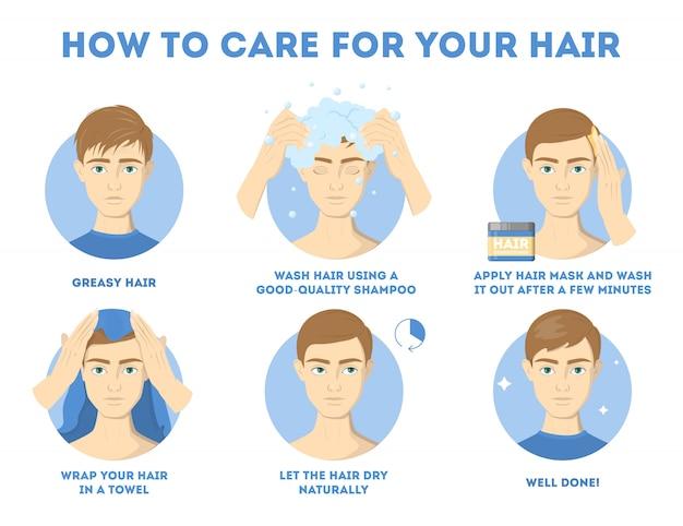 Hoe zorg je voor je haarinstructie voor mannen. haarbehandelingsprocedure. droog af met een handdoek, gebruik olie en masker voor de gezondheid. illustratie
