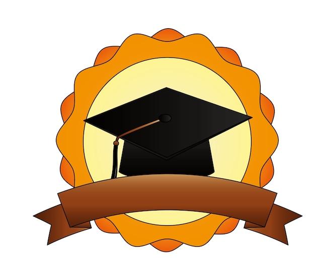 Hoed afstuderen embleem vector illustratie embleemontwerp