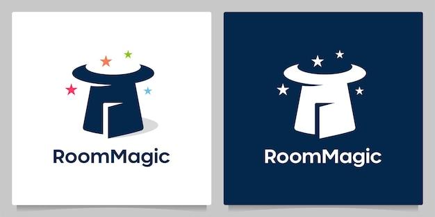 Hoed magie en deur negatief ruimte loo ontwerp creatieve concepten