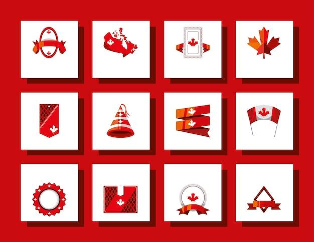 Hoed met bannerblad met canadese vlag
