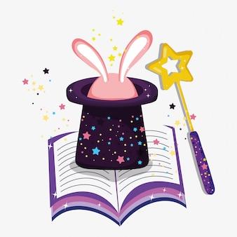 Hoed met konijn en toverstaf en boek