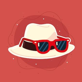 Hoed met zonnebril Premium Vector