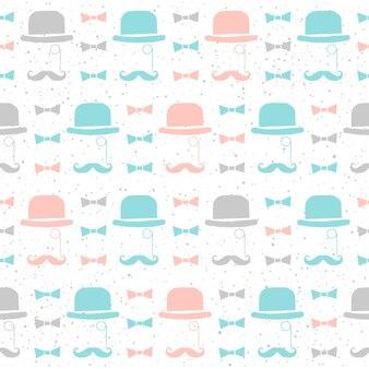 Hoed naadloze patroon achtergrond. zachte blauwe, grijze en roze gekleurde achtergrond. herenstijl voor kaart, uitnodiging, plakkaat, album, plakboek, textiel, kledingstuk enz