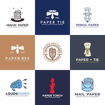 Hoed, papier, potlood, mail, spreker, stropdas logo design collectie.