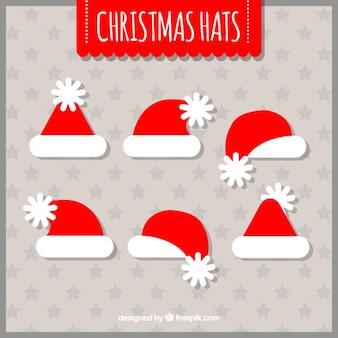 Hoed van de kerstman collectie in plat design