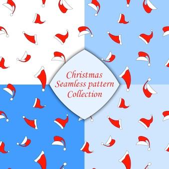 Hoed van de kerstman naadloze patroon in vector.