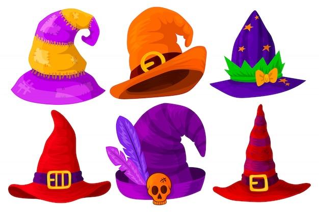 Hoeden van tovenaars, tovenaars, heksen van verschillende kleuren en vormen.