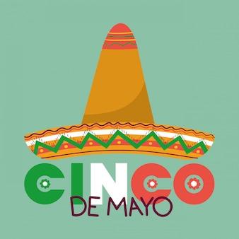 Hoedontwerp, cinco de mayo mexico-cultuuroriëntatiepunt latijns en partijthema vectorillustratie
