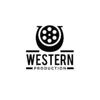 Hoefijzerfilm western logo-ontwerp