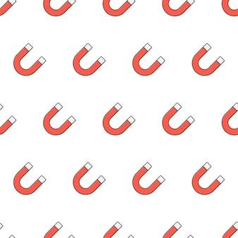Hoefijzermagneet naadloos patroon op een witte achtergrond. magneet thema vectorillustratie