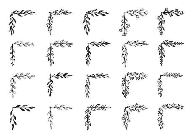 Hoek bloeien grens set. hand getrokken doodle stijl hoek met rustieke bloemen element. vector illustratie grens.